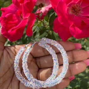 White glitter hoop earrings